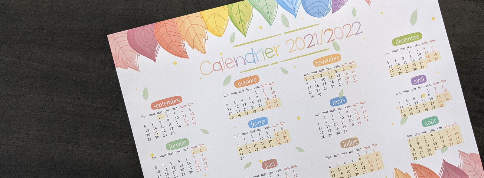 Calendrier annuel 2021/2022
