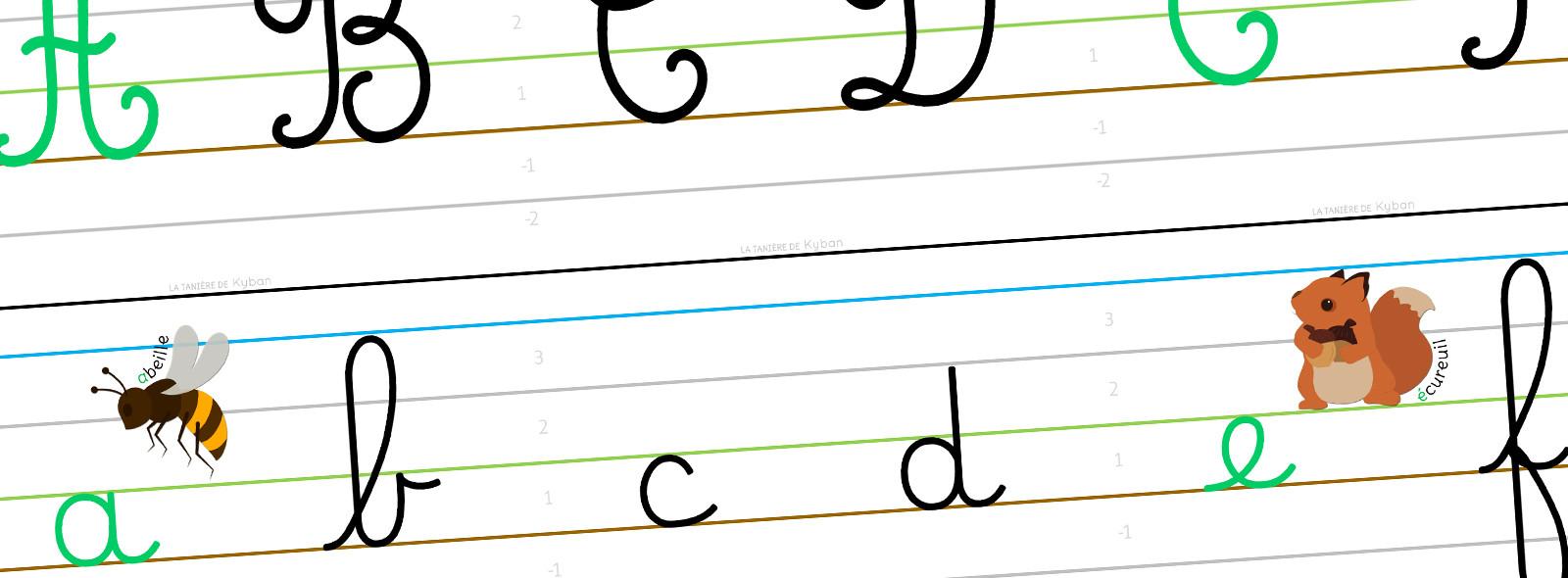 Affichage de l'alphabet - cursive Dumont