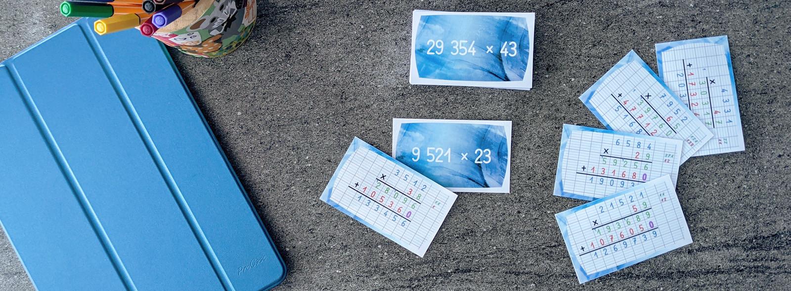 Cartes autocorrectives - multiplications posées